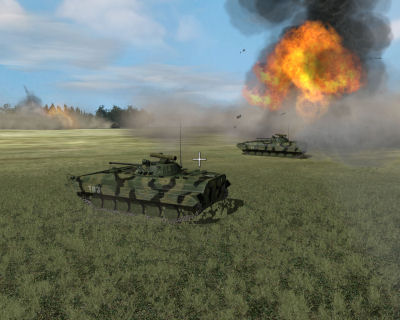 Two Russian BMP-2s rush past an exploding Russian T-72 during a tank on tank engagement.
