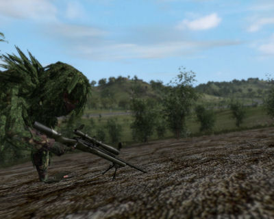 A US Army sniper, having just eliminated his targets, prepares to exfiltrate the scene.