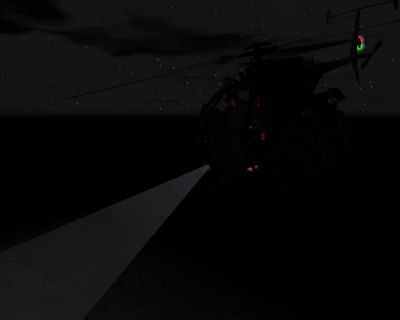 An special ops team prepares to insert via MH-6 under cover of darkness.