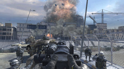 Boom! One of the first of MW2's innumerable huge explosions.