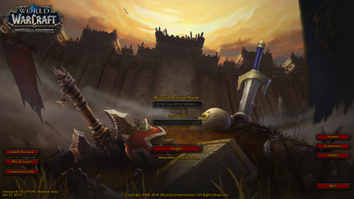 The Battle for Azeroth login screen looks like something of a throwback.