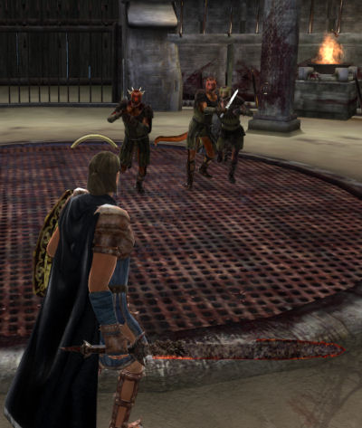 Standing ready as the Argonian prisoners charge.