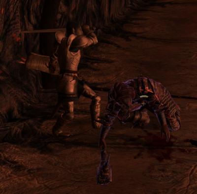 Farwil executes a Dremora prisoner.