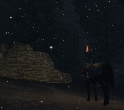 Approaching Sancre Tor at night.