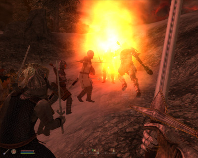 Martin Septim takes a fireball directly on the chin. Ouch.