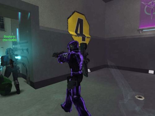 A cloaked NC Infiltrator about to backstab a VS soldier about to gun down an NC soldier about to hack a VS tower's command console.