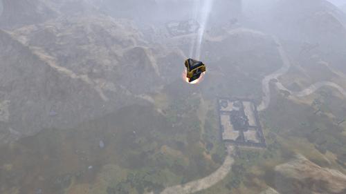 An NC drop pod plummets down near a facility.