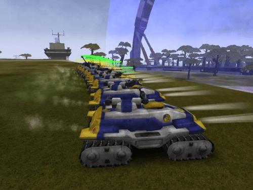 A huge squad of NC Lightning tanks gather at a warp gate.