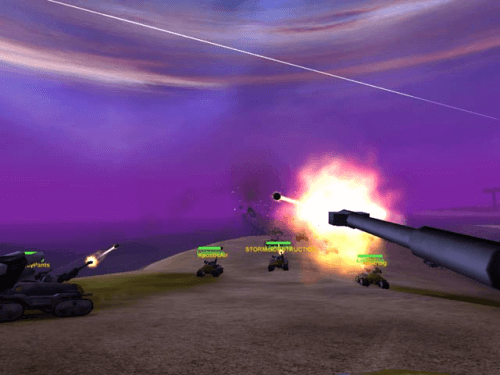 A squad of NC Lightning tanks engaging.