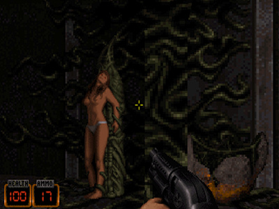 Pretty much the worst of the 'adult content' in Duke Nukem 3D.
