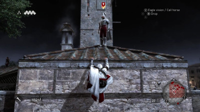Like most people who Ezio meets, this Borgia guard is about to die in a brutal fashion.